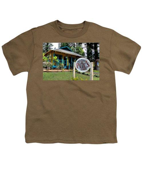 Pele's Lanai Style Youth T-Shirt by DJ Florek