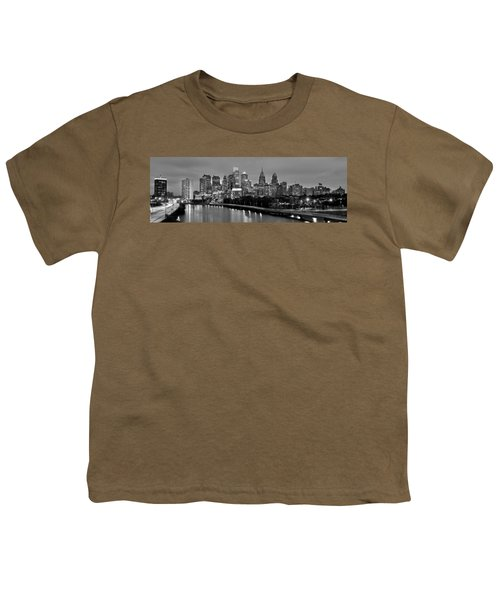 Philadelphia Philly Skyline At Dusk From Near South Bw Black And White Panorama Youth T-Shirt by Jon Holiday