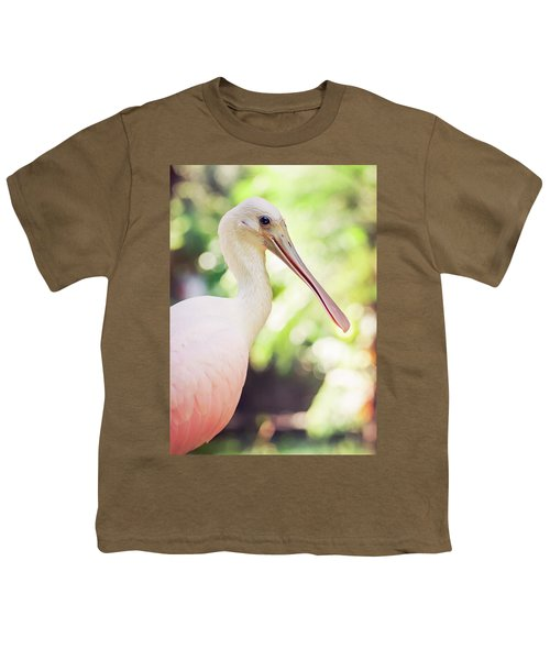 Roseate Spoonbill Youth T-Shirt by Heather Applegate