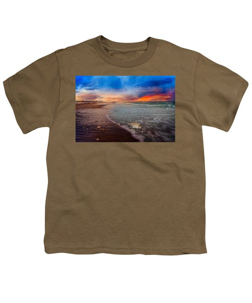 Sandpiper Sunrise Youth T-Shirt by Betsy Knapp