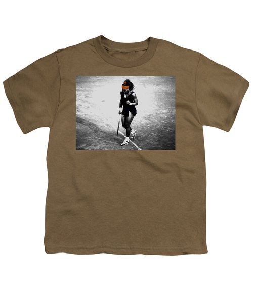 Serena Williams Match Point 3a Youth T-Shirt by Brian Reaves