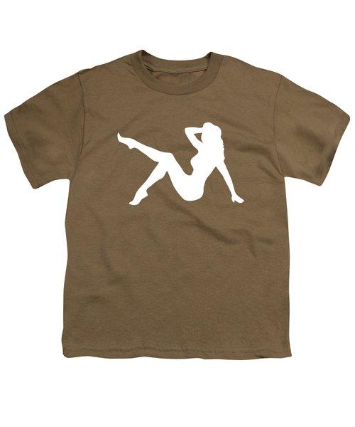 Sexy Trucker Girl White Tee Youth T-Shirt by Edward Fielding