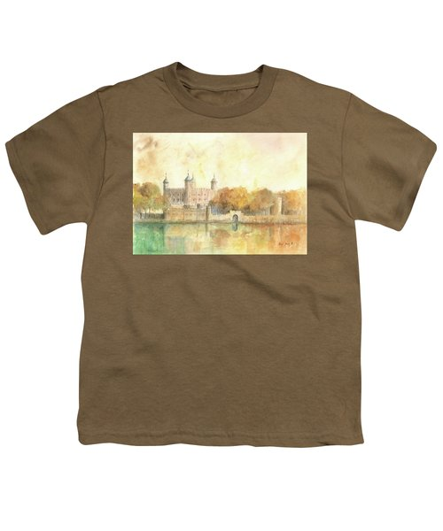Tower Of London Watercolor Youth T-Shirt by Juan Bosco