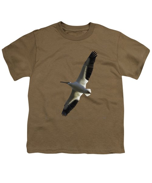 White Pelican In Flight Transparency Youth T-Shirt by Richard Goldman