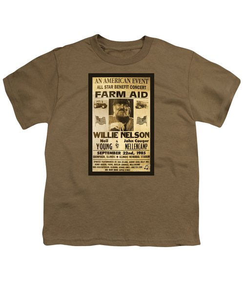Willie Nelson Neil Young 1985 Farm Aid Poster Youth T-Shirt by John Stephens