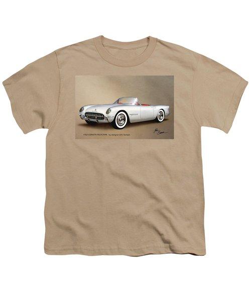 1953 Corvette Classic Vintage Sports Car Automotive Art Youth T-Shirt by John Samsen