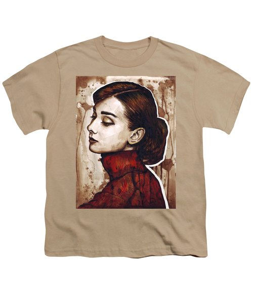 Audrey Hepburn Youth T-Shirt by Olga Shvartsur