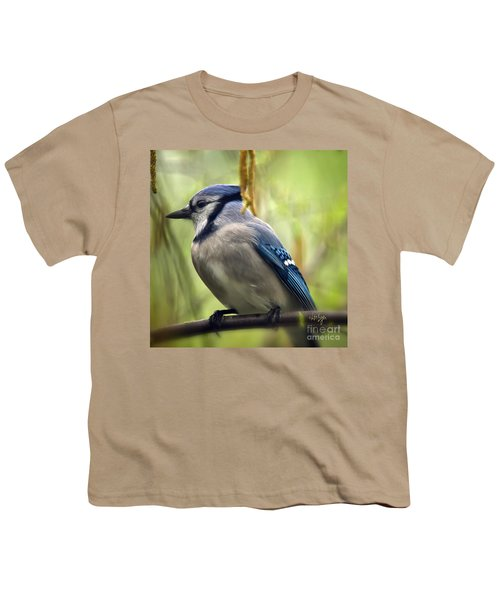 Blue Jay On A Misty Spring Day - Square Format Youth T-Shirt by Lois Bryan