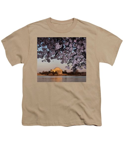 Cherry Blossom Tree With A Memorial Youth T-Shirt by Panoramic Images
