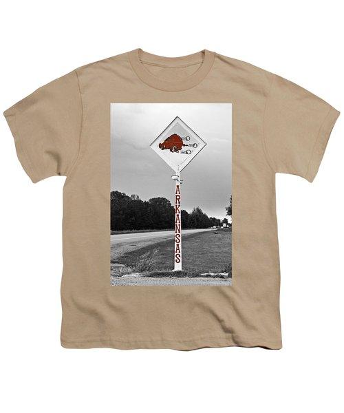 Hog Sign Youth T-Shirt by Scott Pellegrin