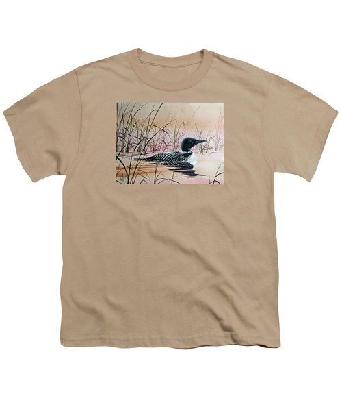 Loon Sunset Youth T-Shirt by James Williamson