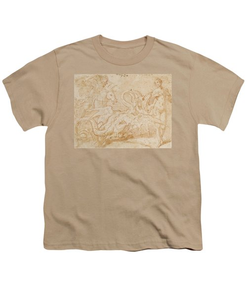 Perseus Rescuing Andromeda Red Chalk On Paper Youth T-Shirt by or Zuccaro, Federico Zuccari