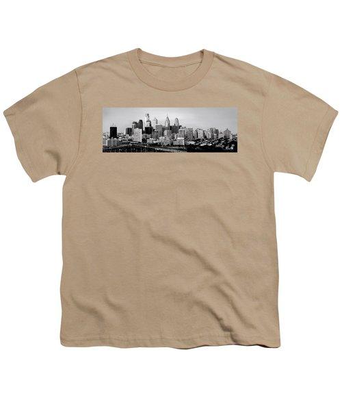 Philadelphia Skyline Black And White Bw Pano Youth T-Shirt by Jon Holiday
