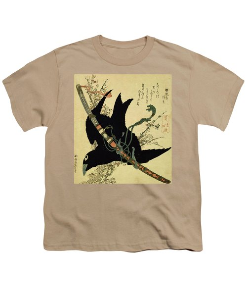 The Little Raven With The Minamoto Clan Sword Youth T-Shirt by Katsushika Hokusai