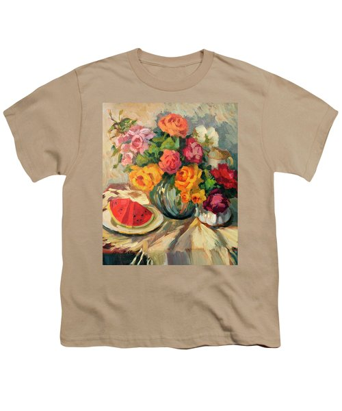 Watermelon And Roses Youth T-Shirt by Diane McClary