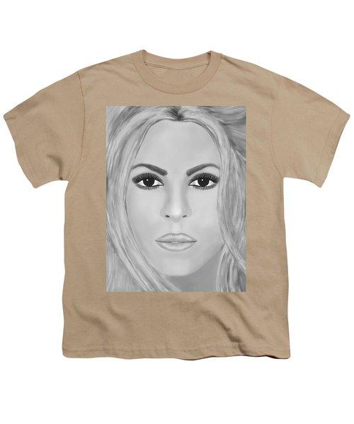 Shakira Black And White Youth T-Shirt by Mathieu Lalonde