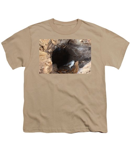 Tufted Titmouse In A Log Youth T-Shirt by Ted Kinsman