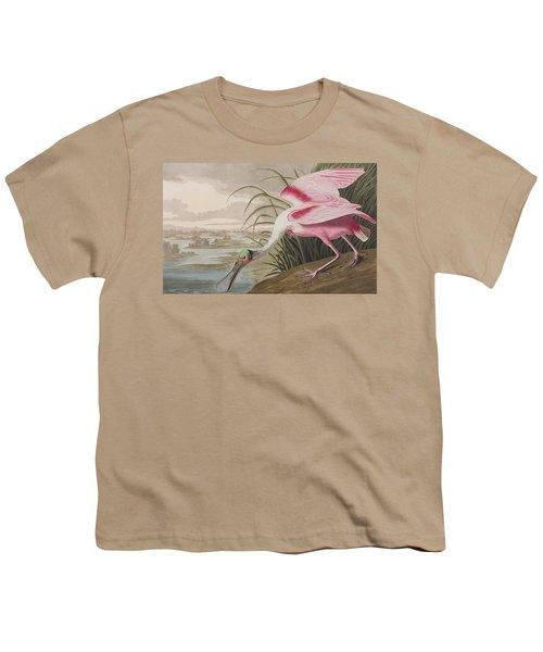 Roseate Spoonbill Youth T-Shirt by John James Audubon