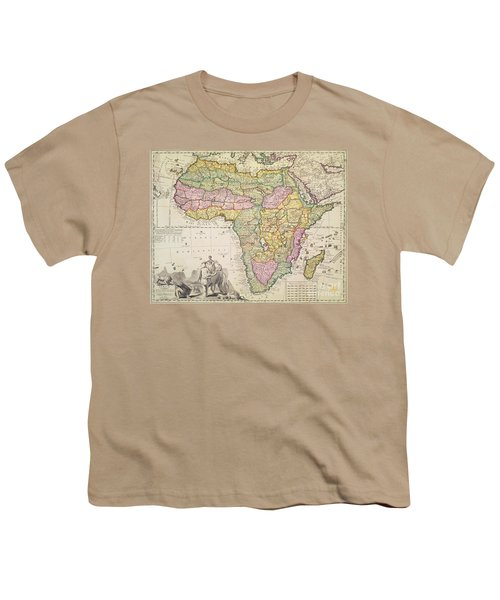 Antique Map Of Africa Youth T-Shirt by Pieter Schenk