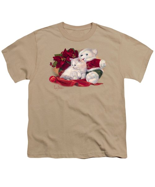 Christmas Kitten Youth T-Shirt by Lucie Bilodeau