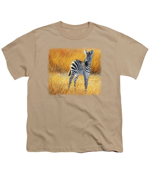 Baby Zebra Youth T-Shirt by Lucie Bilodeau
