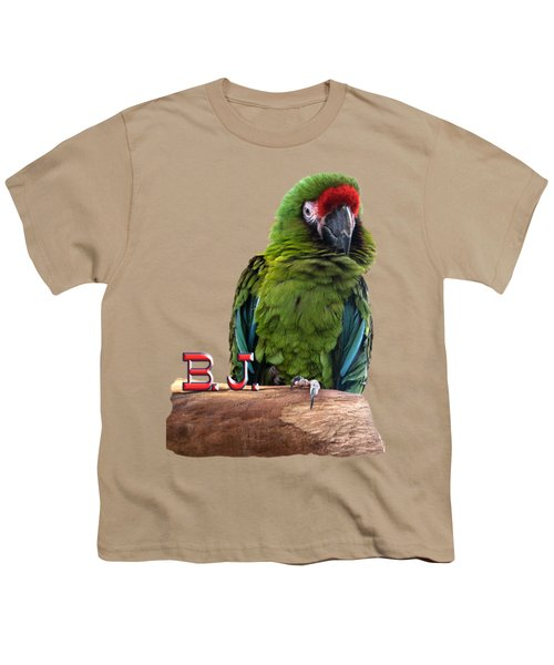 B. J., The Military Macaw Youth T-Shirt by Zazu's House Parrot Sanctuary