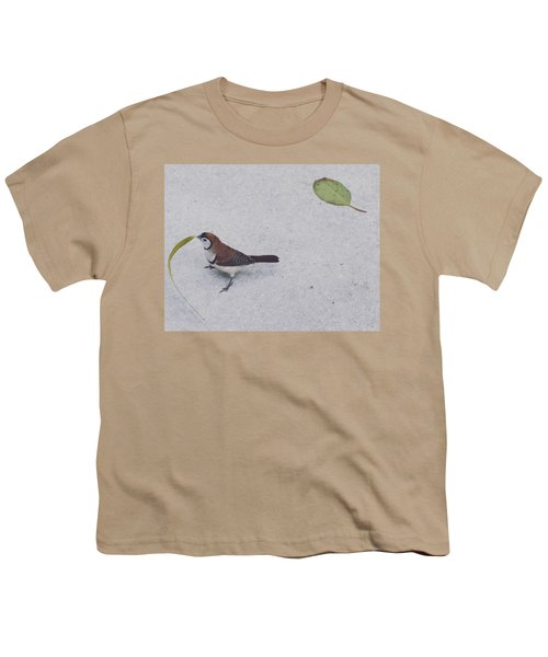 Owl Finch With Leaf Youth T-Shirt by Sandy Taylor