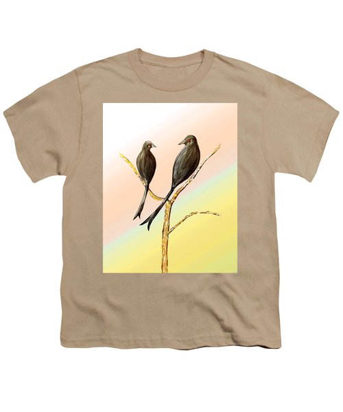 Black Drongos B Youth T-Shirt by Thecla Correya