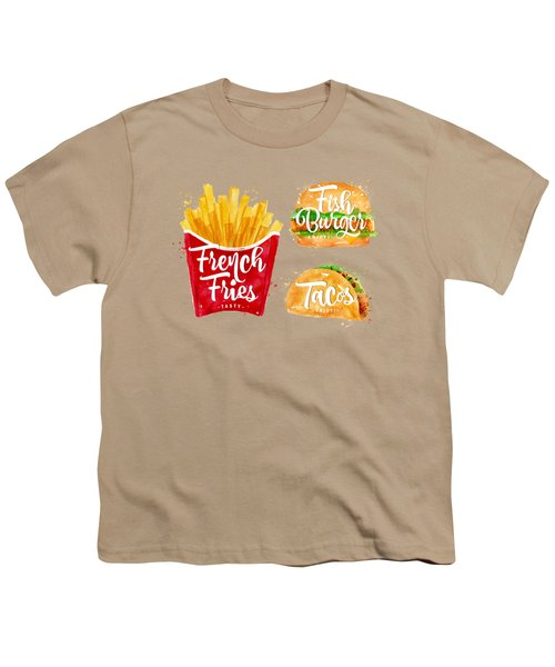 Color French Fries Youth T-Shirt by Aloke Design