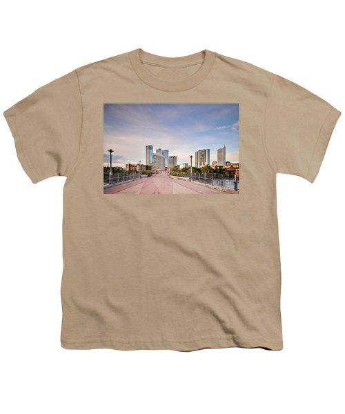 Downtown Austin Skyline From Lamar Street Pedestrian Bridge - Texas Hill Country Youth T-Shirt by Silvio Ligutti