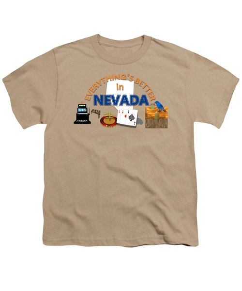 Everything's Better In Nevada Youth T-Shirt by Pharris Art