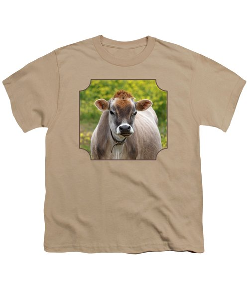 Funny Jersey Cow - Horizontal Youth T-Shirt by Gill Billington