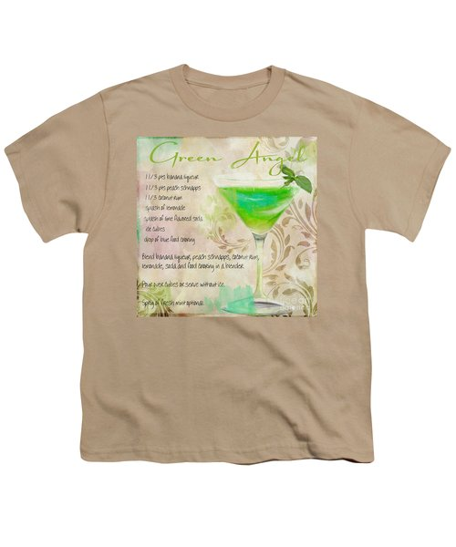 Green Angel Mixed Cocktail Recipe Sign Youth T-Shirt by Mindy Sommers