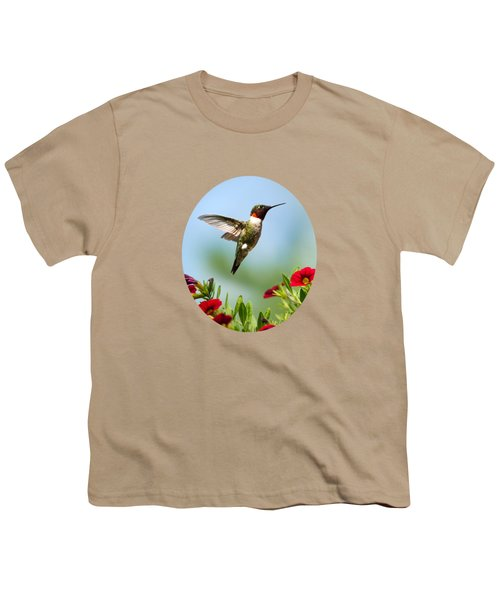 Hummingbird Frolic With Flowers Youth T-Shirt by Christina Rollo