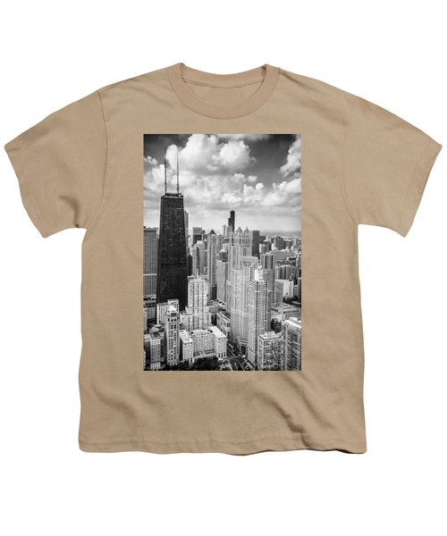 John Hancock Building In The Gold Coast Black And White Youth T-Shirt by Adam Romanowicz