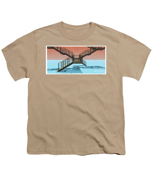 Large Stair 38 On Cyan And Strange Red Background Abstract Arhitecture Youth T-Shirt by Pablo Franchi