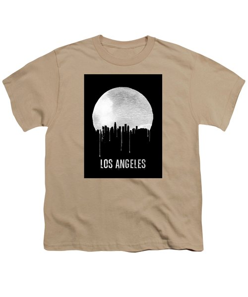 Los Angeles Skyline Black Youth T-Shirt by Naxart Studio