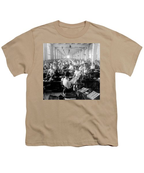 Making Money At The Bureau Of Printing And Engraving - Washington Dc - C 1916 Youth T-Shirt by International  Images