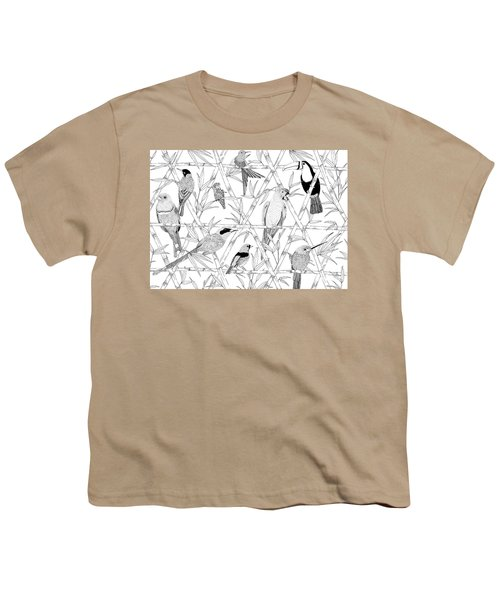 Menagerie Black And White Youth T-Shirt by Jacqueline Colley