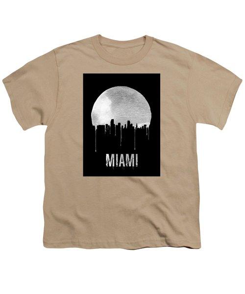 Miami Skyline Black Youth T-Shirt by Naxart Studio