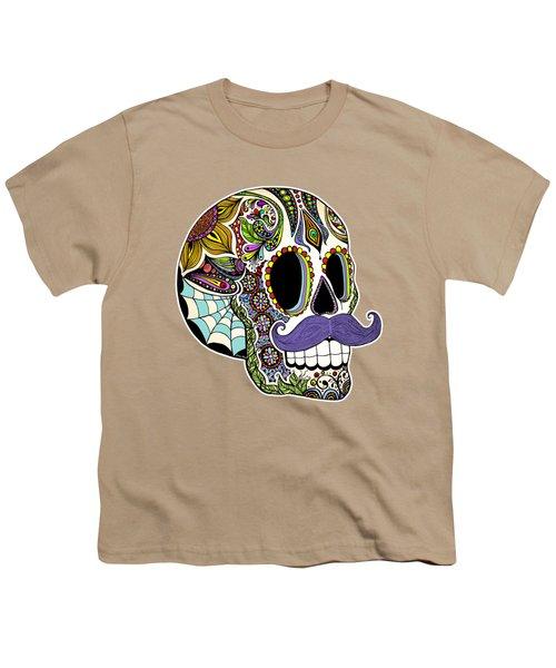 Mustache Sugar Skull Vintage Style Youth T-Shirt by Tammy Wetzel