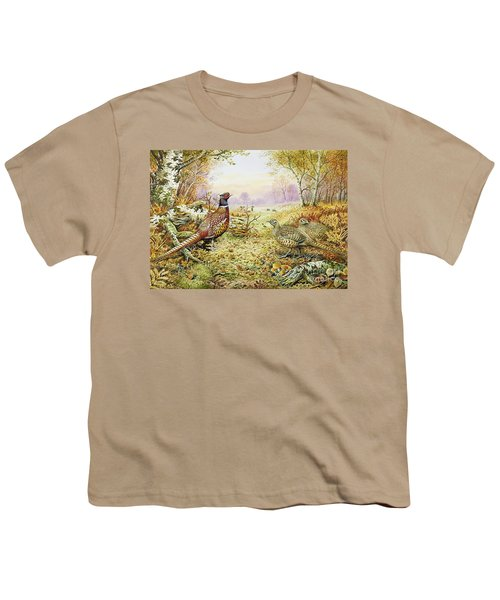 Pheasants In Woodland Youth T-Shirt by Carl Donner