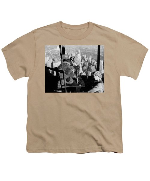 Riveters On The Empire State Building Youth T-Shirt by LW Hine