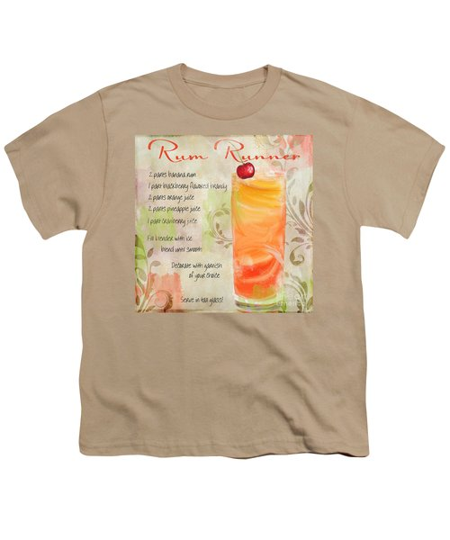 Rum Runner Mixed Cocktail Recipe Sign Youth T-Shirt by Mindy Sommers