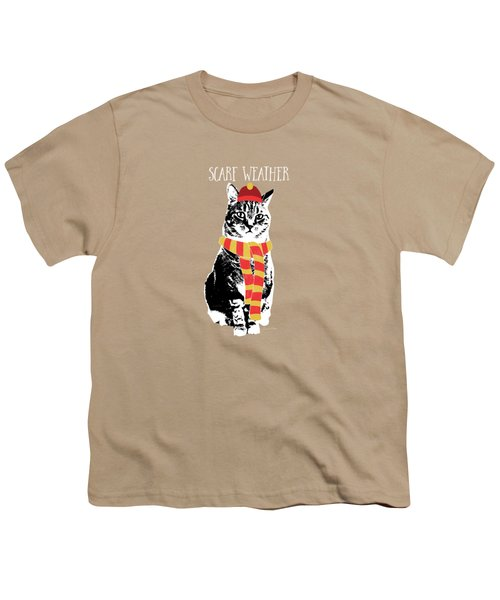 Scarf Weather Cat- Art By Linda Woods Youth T-Shirt by Linda Woods
