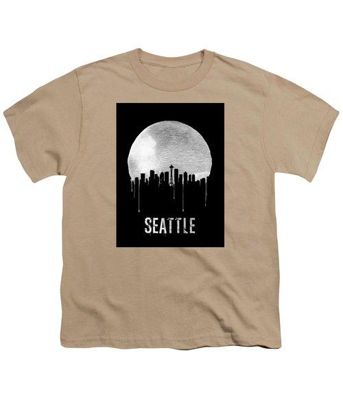 Seattle Skyline Black Youth T-Shirt by Naxart Studio