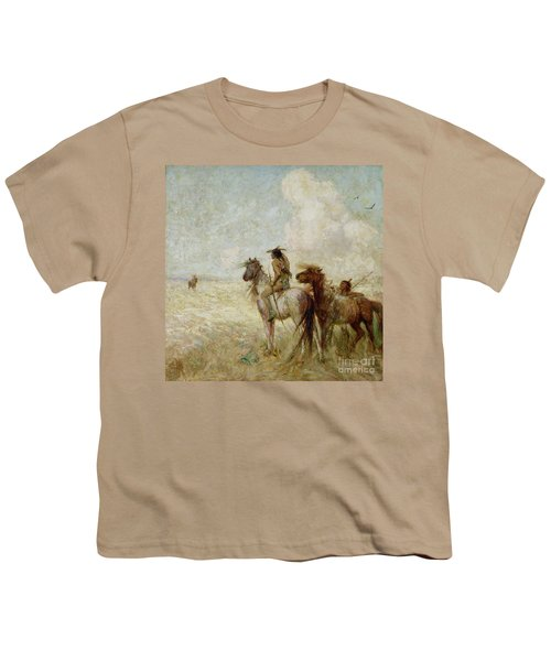 The Bison Hunters Youth T-Shirt by Nathaniel Hughes John Baird