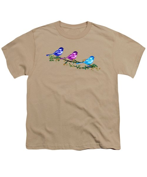 Three Chickadees Youth T-Shirt by Teresa Ascone