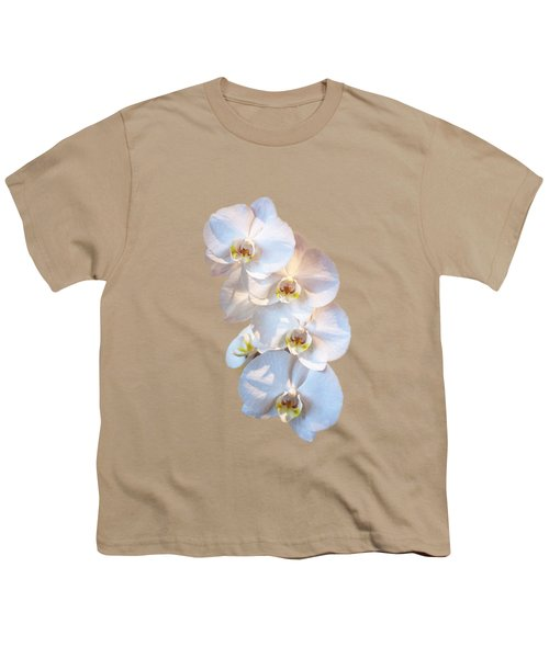 White Orchid Cutout Youth T-Shirt by Linda Phelps