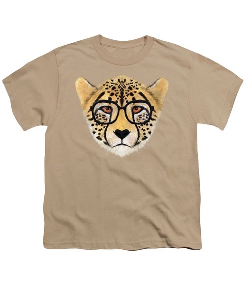 Wild Cheetah With Glasses  Youth T-Shirt by David Ardil